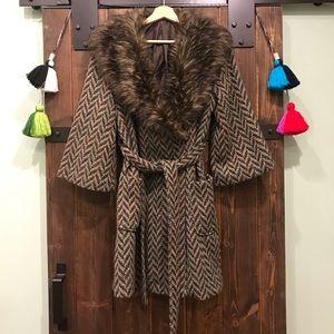 Forever 21 Tweed Coat w/ Fur Collar & Retro Vibes